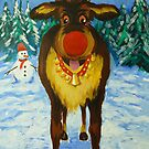 Rudolf the Red Nose Reindeer by AlexKellyArt