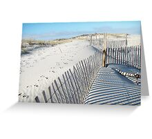 Fences Shadows and Sand Dunes Greeting Card