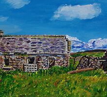 """Ruined Cottage and Farm Buildings on Longmore Road, Broughshane, County Antrim"" by Laura Butler"