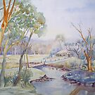 Down near the River - Watercolour by scallyart