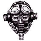 WW2 Pilot in Mask black and white pen ink drawing by Vitaliy Gonikman