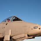 A-10 Warthog with the moon in the background by bleriger