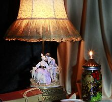 Porcelain Lamp and Books With Oil Lamp by FrankSchmidt