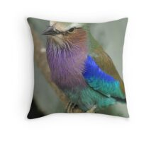 Posing Lilac Breasted Roller Throw Pillow