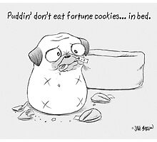 Puddin' don't eat fortune cookies... in bed. Photographic Print