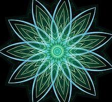 Fractal Flower Green by Leah McNeir