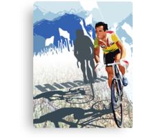Vintage Retro Style Graphic Illustration Print Original : Tour De France Legend Hinault and Map Canvas Print