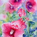 Choir Practice - Hollyhocks floral iPhone case by Ruth S Harris