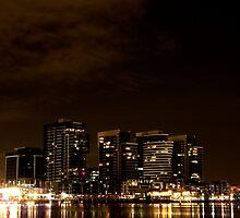 Melbourne Docklands at Night 6554 by Kayla Halleur