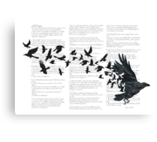Vintage Style Print with Poem Text Edgar Alan Poe: Edgar Alan Crow Canvas Print