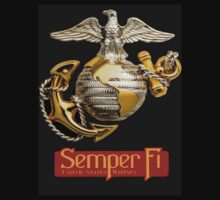 US Marines - Semper Fi  -  T-Shirt by Buckwhite