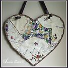 Crazy Quilt Heart With Embroidery Stitches For Friend by Sandra Foster