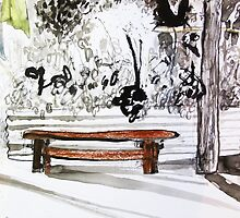 red wood bench by donnamalone