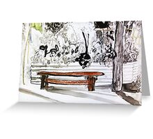 red wood bench Greeting Card