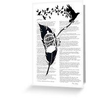 Vintage print with Edgar Alan Poe Poem and Raven Silhouette: Break Free  Greeting Card