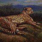 Cheetah Pastel Painting by Sue Deutscher