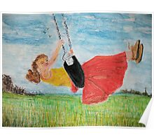 Girl on a swing Poster