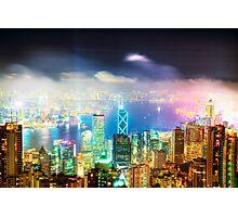 Hong Kong Night Lights Photographic Print
