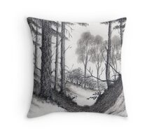 Through A Look In The Forest - Conté Drawing Throw Pillow