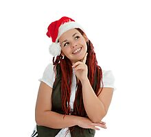 Young modern christmas girl isolated on white background. Photographic Print