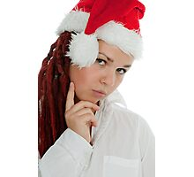 Portrait of young modern christmas girl. Photographic Print