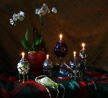 Helwig Art Glass Oil Lamps with Orchid by FrankSchmidt
