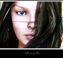 la fille aux yeux bleus by Sandra Bauser Digital Art