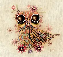 little flower owl by © Karin  Taylor