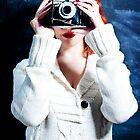 Redhead vintage camera user by Sharonroseart