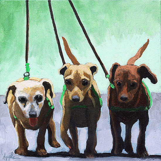 Family of Chihuahuas - animal art by LindaAppleArt