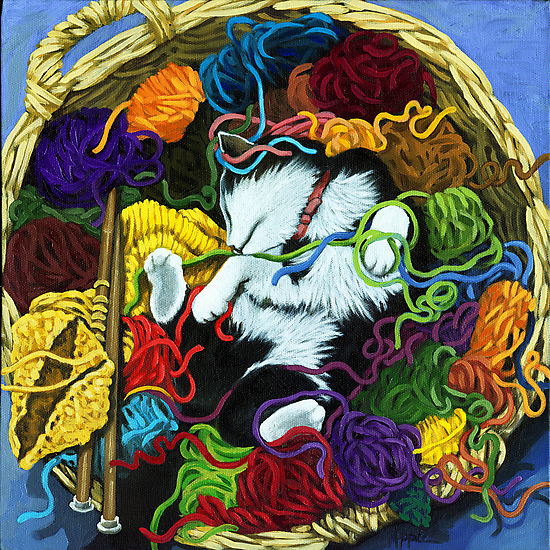 Knitter's Helper - cat oil painting by LindaAppleArt