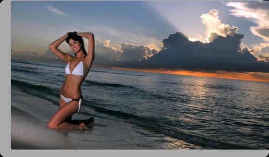 Beautiful brunette bikini model posing at cloudy Caribbean sunrise  by Anton Oparin