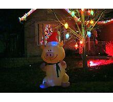 """Happy Pig"" Christmas Decorations Photographic Print"