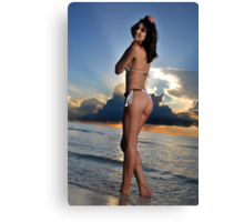 Beautiful brunette bikini model posing at cloudy Caribbean sunrise Canvas Print
