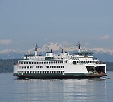 Washington State Ferry Issaquah and the Olympic Mountains by zargoman