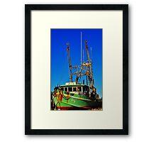 Texas Lady Shrimp Boat Framed Print