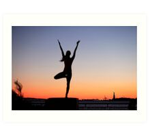 Tree pose silhouette in front of the Statue of Liberty, New York Art Print