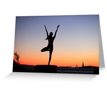 Tree pose silhouette in front of the Statue of Liberty, New York Greeting Card