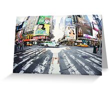 Yoga handstand at Times Square, Manhattan New York City Greeting Card