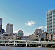 Brisbane and the Riverside Expressway (panorama) by Margaret  Hyde