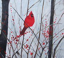 Cardinal amongst berries by BenPotter