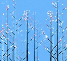 Cherry Blossom - blue background by Jarede Schmetterer
