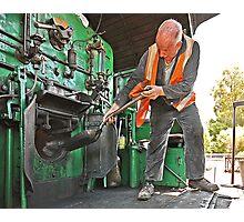 Stoker on Steam Engine 2705 Photographic Print