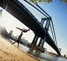 Acroyoga in front Manhattan Bridge, New York  by Wari Om  Yoga Photography