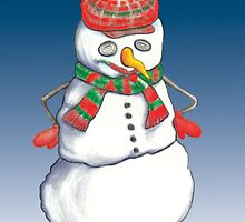 Snow Man Greeting Card Design by BizzyBzzz