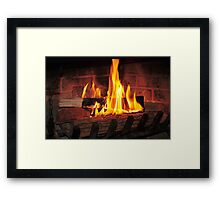 Burning fire at fireplace. Can be used as background. Framed Print