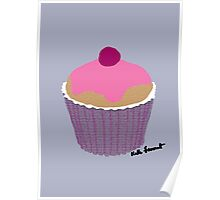 Pink iced cupcake  Poster
