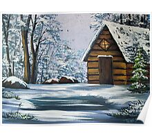 Cabin in Winter Poster