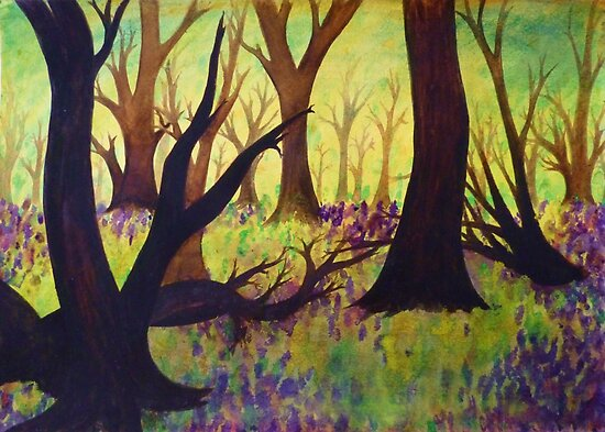 Bluebell Woods Ink Sketch by Holly Daniels