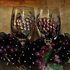 Hand Painted Wine Glasses, Grapes &amp; More 2nd Rendition by Sherry Hallemeier